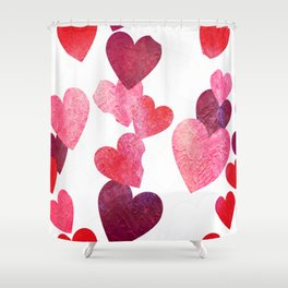 Pink Grungy Hearts Shower Curtain