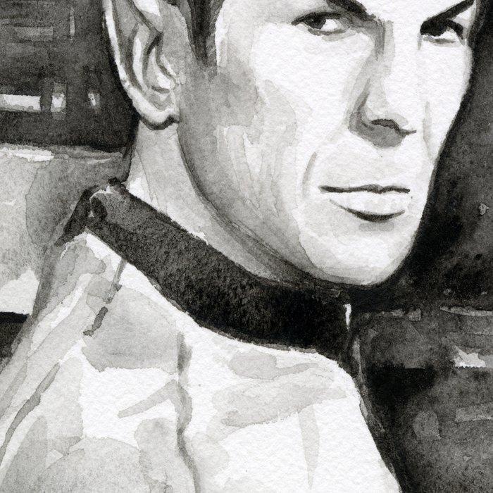 Spock Leonard Nimoy Portrait Sci-fi Geek Painting Leggings