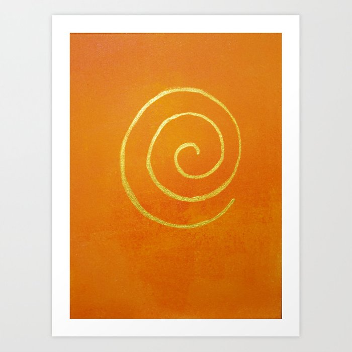 Philip Bowman Infinity Bright Orange And Gold Abstract Modern Art Painting Art Print