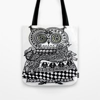 celtic Tote Bags featuring Celtic owl by oxana zaika
