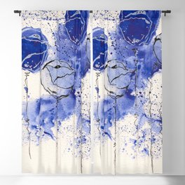 Blue and White Splotch Flowers Blackout Curtain