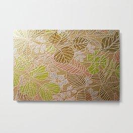 Embossed Golden Leaf Metal Print