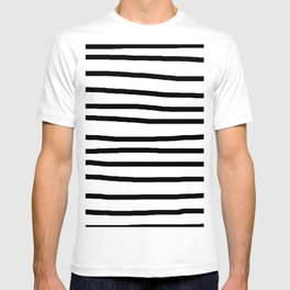 Simply Drawn Stripes in Midnight Black T-shirt