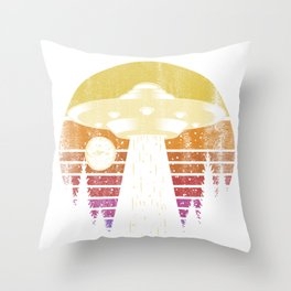 Landing UFO In The Sunset Throw Pillow