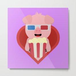 Cinema pig with popcorn in heart Metal Print