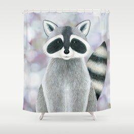 raccoon woodland animal portrait Shower Curtain