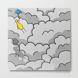 Umbrella Flying Metal Print