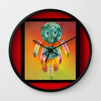 dreamcatcher Wall Clocks featuring Dreamcatcher by Joe Ganech