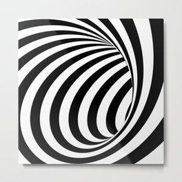 Black and White 3D Spiral Lines Illusion  Design Metal Print