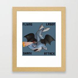 Flying laser Shark Attack Framed Art Print
