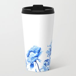 blue peonies 2 Travel Mug