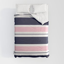 Blue Navy and Pink Stripes Comforters