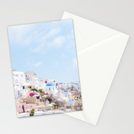 Pastel Colored View on Santorini Greece Stationery Cards
