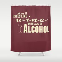 alcohol Shower Curtains featuring NOTES OF ALCOHOL by Sandhill