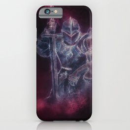Medieval Knight Templar in Purple Smoke iPhone Case