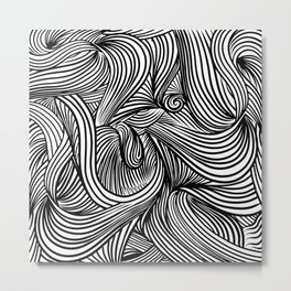 Decorative abstract figured with lines and doodles Metal Print