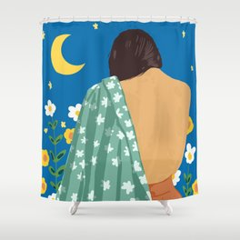 I Have Loved The Moon & The Stars Too Fondly To Be Fearful of The Night #illustration #painting Shower Curtain