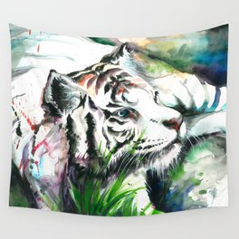 WHITE TIGER WATERCOLOR Wall Tapestry