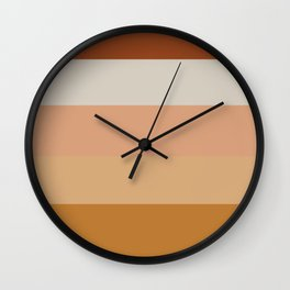 Soothing Earth Tone Stripes Minimalist Pattern in Rust, Terracotta, Millennial Pink, and Apricot Wall Clock
