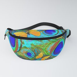 DECORATIVE AZURE BLUE PEACOCK FEATHER BUTTERFLY PATTERN Fanny Pack