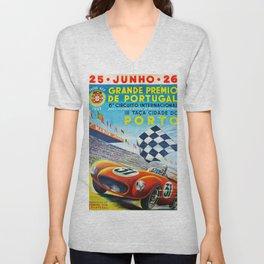 Vintage 1955 Porto Grand Prix Poster Unisex V-Neck