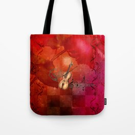 Music, violin with violin bow Tote Bag
