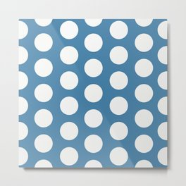 Large Polka Dots on Blue Metal Print