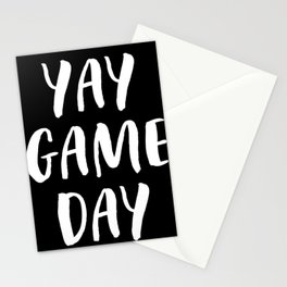 Yay Game Day Football Sports Team White Text Stationery Cards