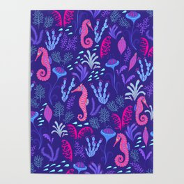 Fabulous ink sea. Sea creatures and algae. Decorative marine pattern. Poster
