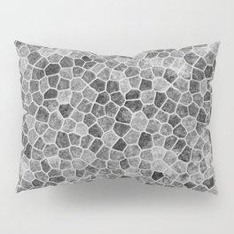 The Paths Taken Black and White Cobblestone Pattern Pillow Sham