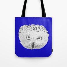 Snowy Owl Bright Blue Tote Bag
