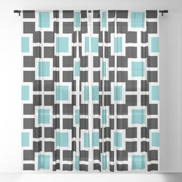 Classic Hollywood Regency Pattern 221 Turquoise and Black Sheer Curtain