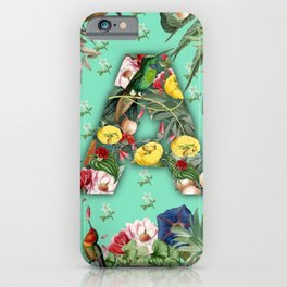 Letter A with exotic birds and flowers iPhone Case