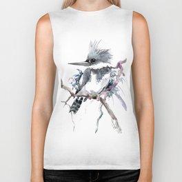 Belted Kingfisher, Gray design, Gray design Biker Tank