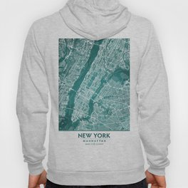 Turquoise Teal Wall Art Showing Manhattan New York City, Brooklyn and New Jersey Hoody