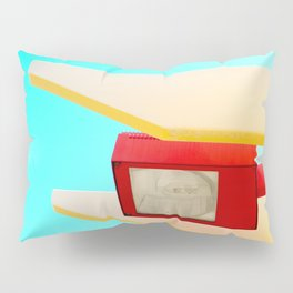 Architectural photography street lamp red+yellow / aqua sky Pillow Sham