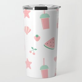 summer pattern with watermelon, pineapple, ice cream, heart, starfish, cherry, strawberry, shellfish Travel Mug