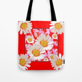 MODERN  DAISY FLOWER  RED ABSTRACT ART DESIGN Tote Bag