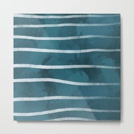 Blue with White Stripes Metal Print