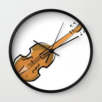violin Wall Clocks featuring Violin by shopaholic chick