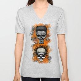 Yolandi and ninja style ErrorFace Skulls Unisex V-Neck
