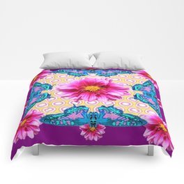 BLUE BUTTERFLIES FUCHSIA DAHLIA FLOWERS ABSTRACT Comforters