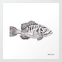 bass Art Prints featuring bass by Dan Lisowski Illustration