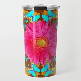 Coffee Brown Pink Flower Blue Butterfly Floral Art Travel Mug