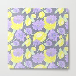 Freshy lemon fruit beautiful aroma floral pattern on purple backgroung Metal Print