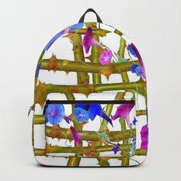 BLUE MORNING GLORIES THORN LATTICE DESIGN Backpack