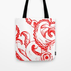 Octopus - Red and White Tote Bag