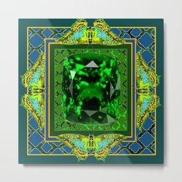 DECORATIVE  GREEN EMERALD GEM & BUTTERFLY ART DESIGN Metal Print