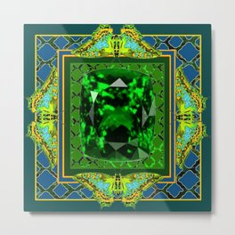 DECORATIVE  GREEN EMERALD GEM & BUTTERFLY ART DESIGN Metal Print