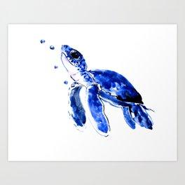 Blue Turtle, Cute turtle art, turtle design illustration Art Print